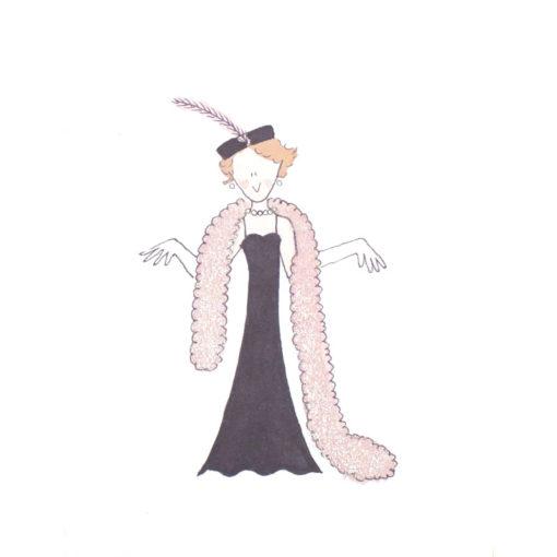 front of elegant lady card