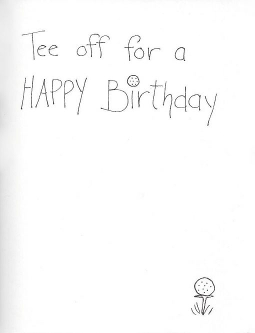 Tee Off for a Happy Birthday card inside