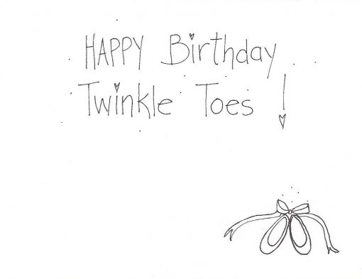 Happy Birthday Twinkle Toes card inside