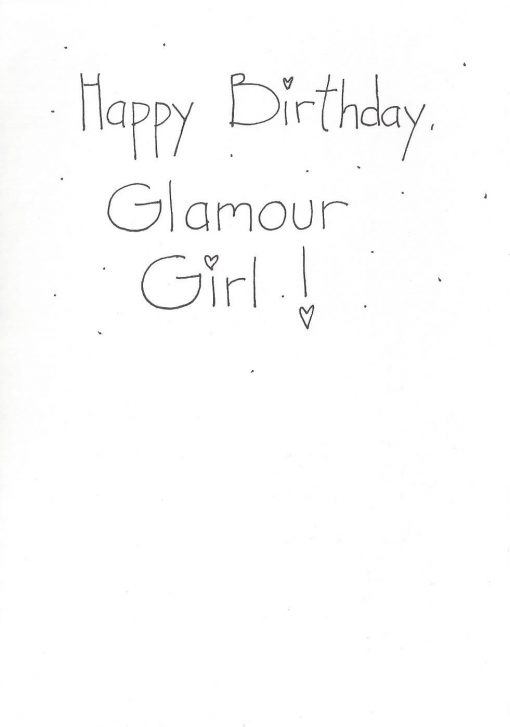 Happy Birthday Glamour Girl card inside right
