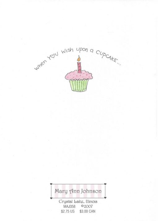 HAPPY Birthday, CUPCAKE card back
