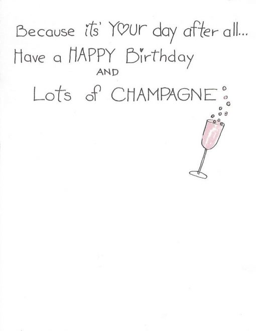 inside right of now let's OPEN the GOOD CHAMPAGNE card
