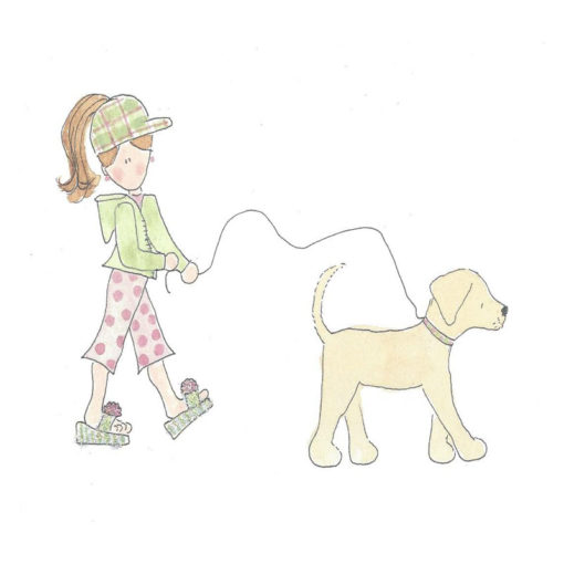 woman walking dog card front