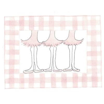 three ballerinas card front