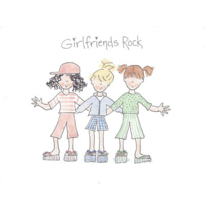 girlfriends rock with three girls card front
