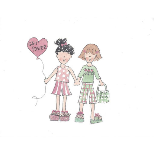 girls holding hands showing girl power and girly fun card front