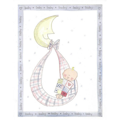 baby in swing with moon card front