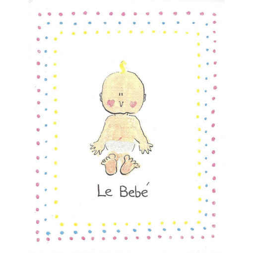 le bebe with colored dots background card front
