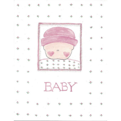 baby with pink flowers card front