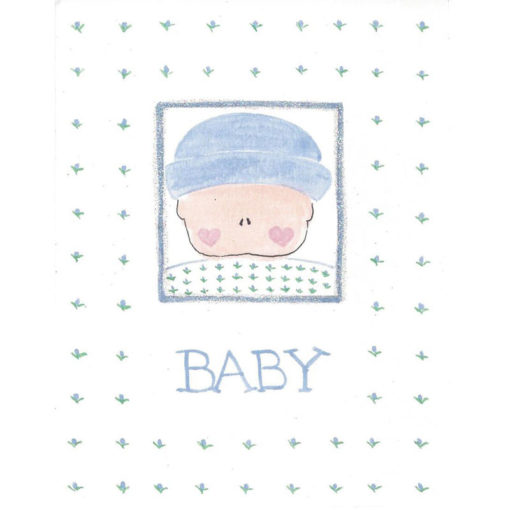 baby with blue flowers card front