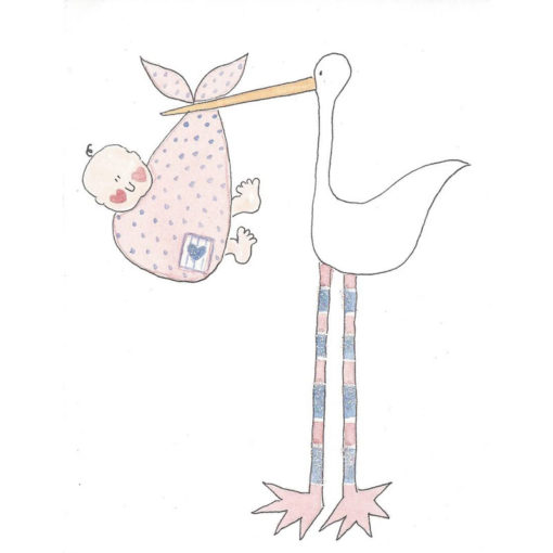 stork and baby in bundle card front
