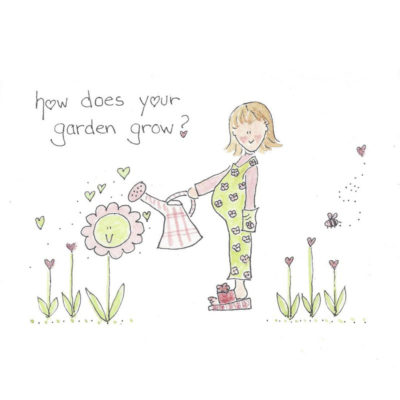 pregnant lady watering flower garden card front