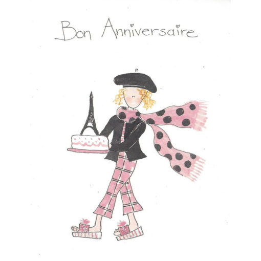 french girl holding cake with Eiffel tower on top