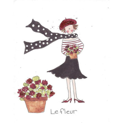 french lady holding flowers next to flower pot