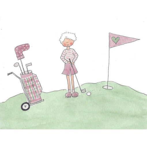 old lady golfing at a hole with a golf bag