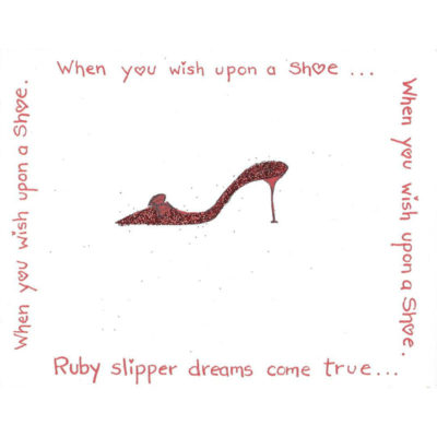 ruby red slipper with glitter