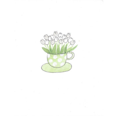 tulips in green polka dot mug