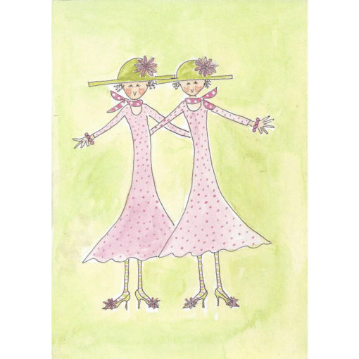 matching ladies in green hats and pink dresses