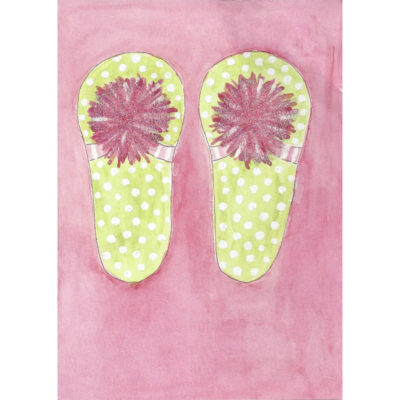 green with white polka dot sandals with pink pom poms
