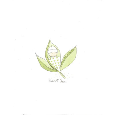 sweet pea baby in peapod card front