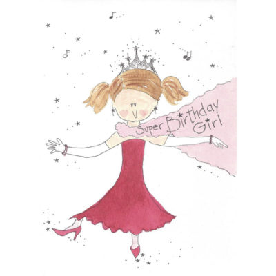 girl in red dress with tiara and boa