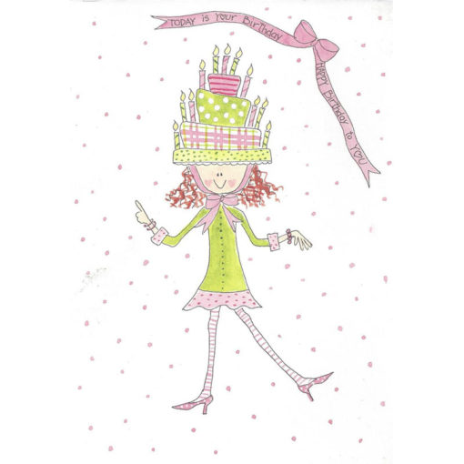 girl with birthday cake hat on
