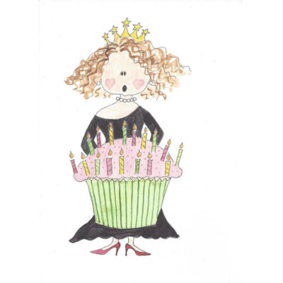 lady blowing out candles on cupcake