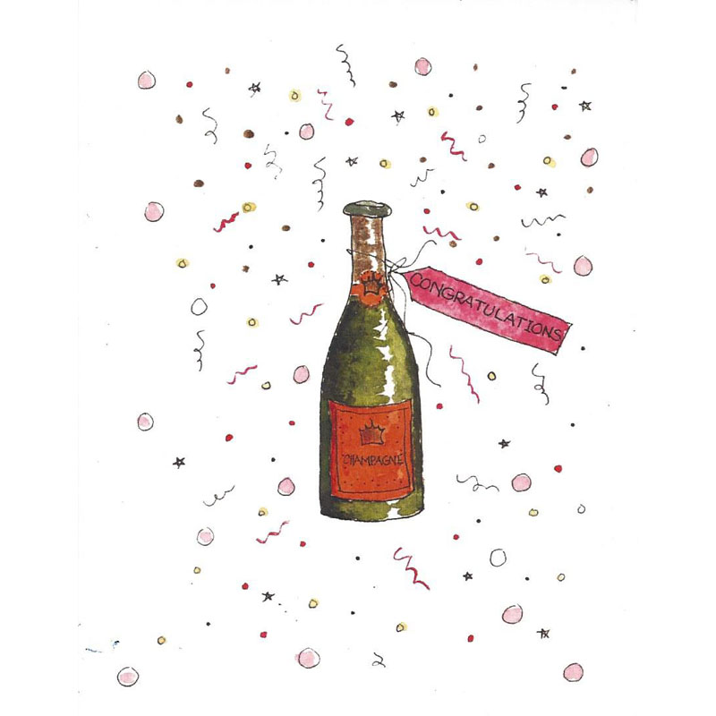 Greeting Card image of congrats and champagne bottle