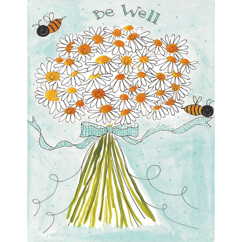 Greeting Card image of flower bouquet with bee saying Be Well