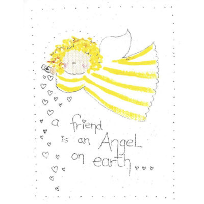 angel in yellow striped dress