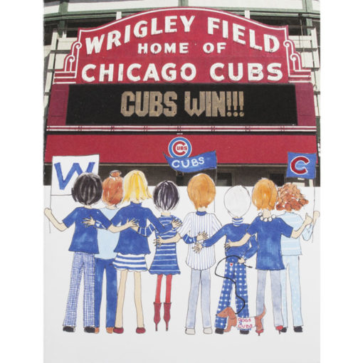 people reading sign at Wrigley field saying cubs win