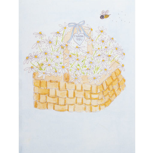daisies in basket with bee