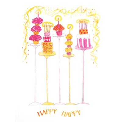front of happy happy card