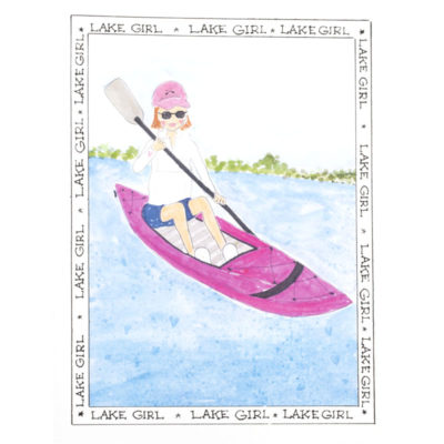 front of lake girl - pink kayak card