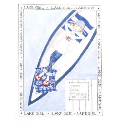 front of lake girl - rowboat card