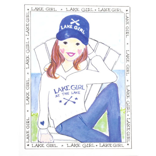 Front of lake girl - Beach Chair card