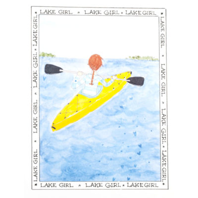 Front of lake girl - Yellow Kayak card