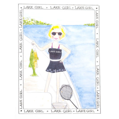 front of lake girl - Fishing card
