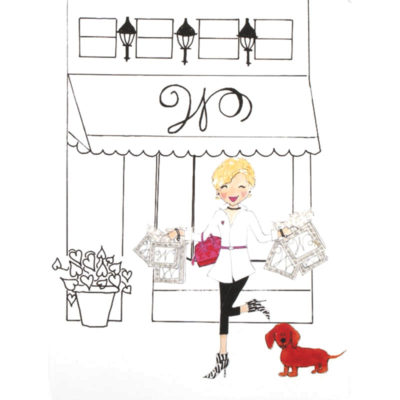 front of shop girl - W shop card