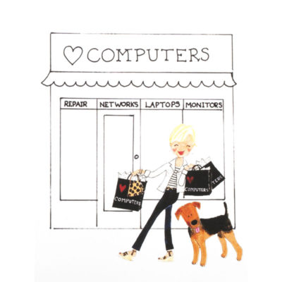 front of shop girl - computer shop card