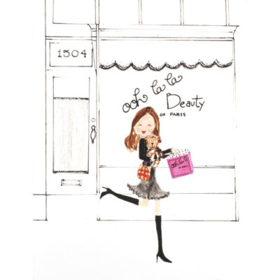front of shop girl - beauty shop card