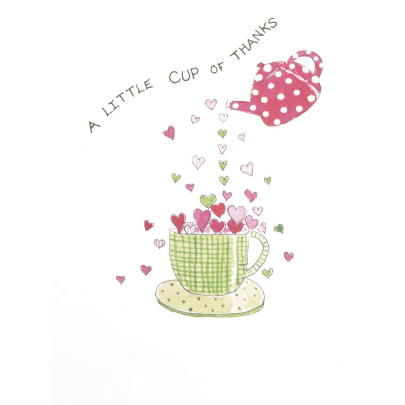 Greeting Card image of teacup overflowing with hearts