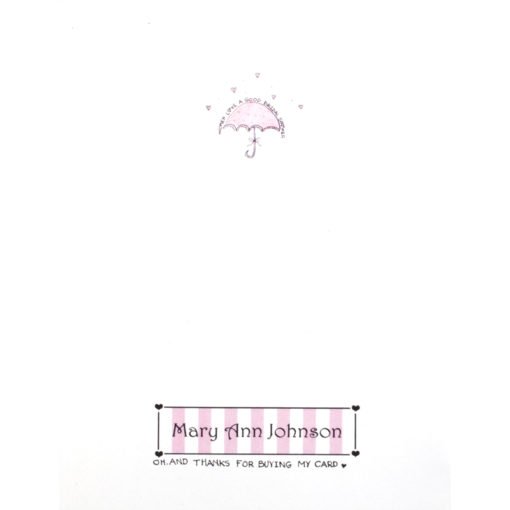 back of A Shower of Love card