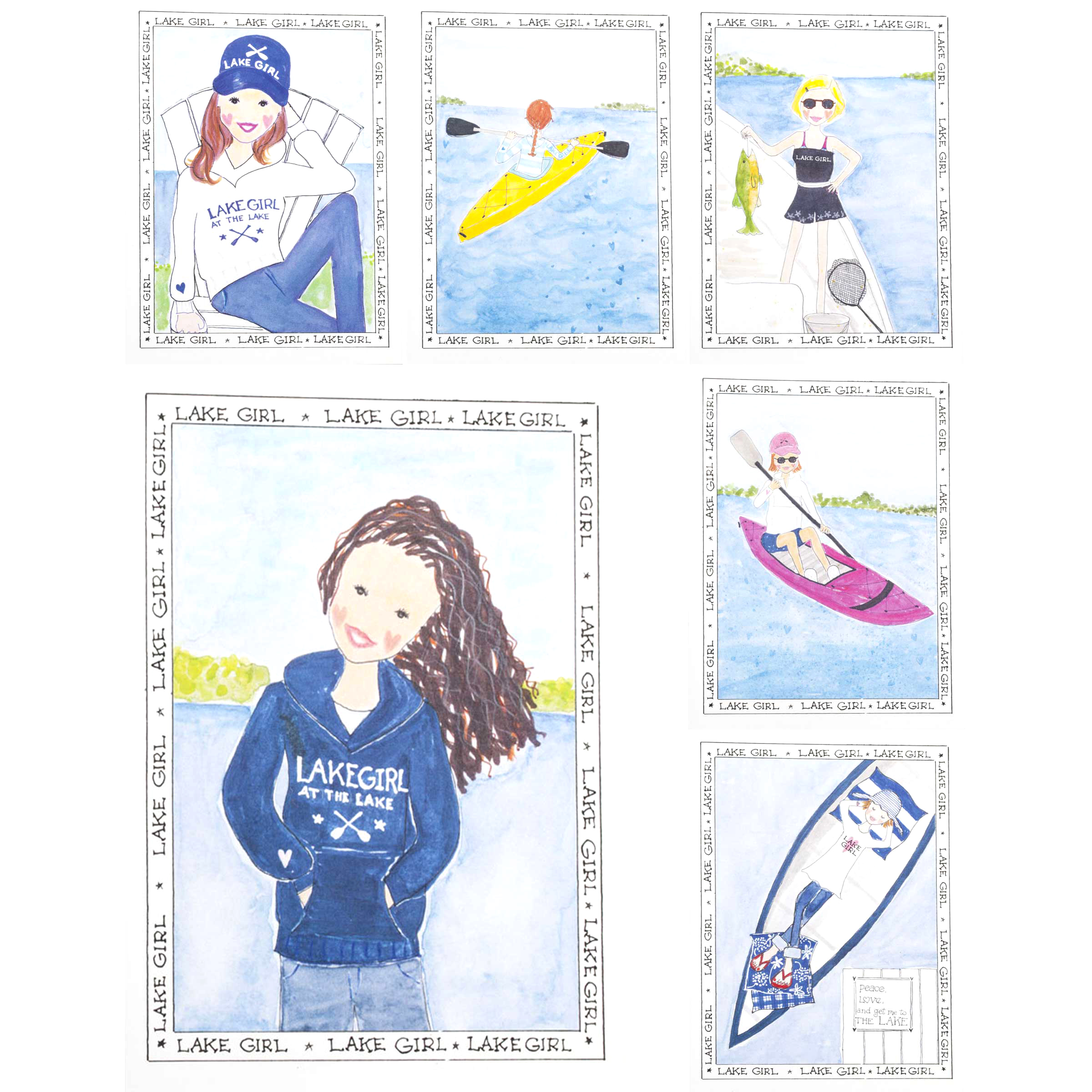 Greeting Card image of Lake Girl card set - 6 cards