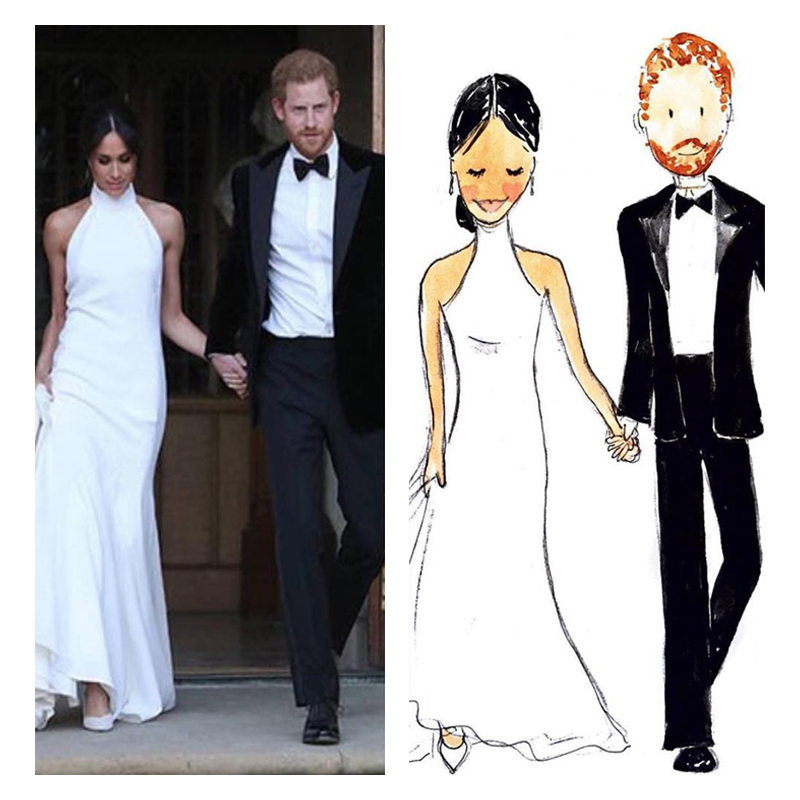 Custom Portrait Illustration of Harry and Meghan
