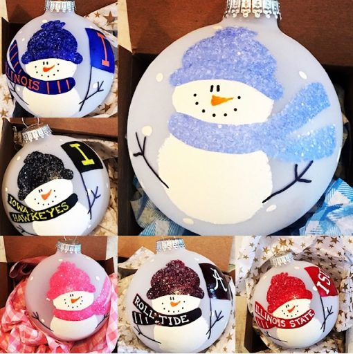 Special snowman customized for your new baby, high school, college, or grade school with your colors and name!