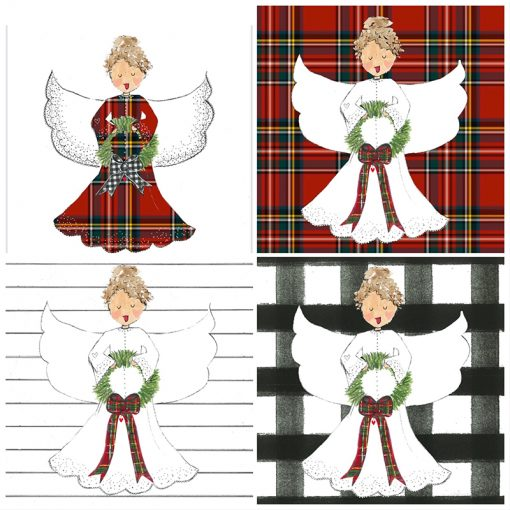 Four different design options for the angel canvas