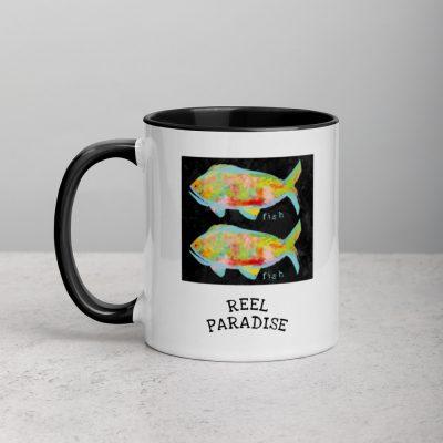 REEL PARADISE MUG mockup in black - front