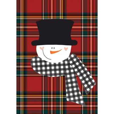 plaid snowman card front