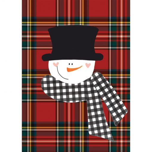 plaid snowman card front